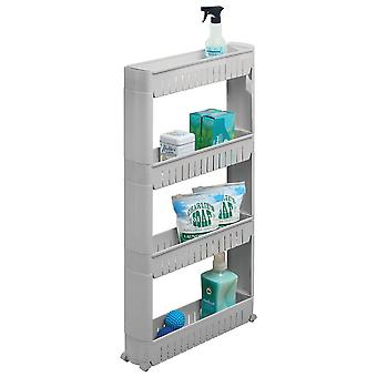 mDesign Portable Rolling Laundry Utility Cart Organizer with 4 Shelves