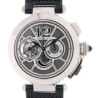 Cartier Pasha Tourbillon Kronograf 18 kt Vit Guld Herrar's Klocka W3030013