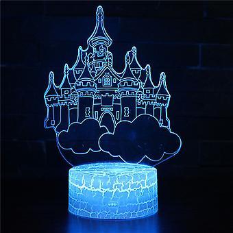 3D Optisk illusionslampa LED Nattljus, 7 färger Touch Sänglampa Sovrum Bord Art Deco Barn Nattljus med USB-kabel Ny jul födelsedag Presentbyggnad # 334