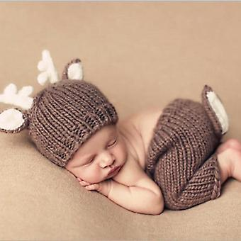 Newborn Photography Costume Cute Knit Weave Deer Antler Hat + Fawn Tail Pants