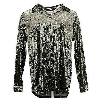 Belle By Kim Gravel Women's Top Velvet Big Shirt W/ Pocket Green A388508