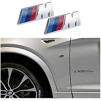 x2 BMW M Sport Emblem Chrome Sticker 45x15mm Pair All BMW Models Side Wing Fender Badge