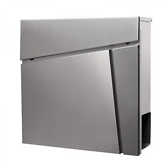Buzón de acero inoxidable 37x37x10,5 cm - Soporte y cerradura del periódico