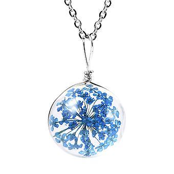 Floral Halskette für Womens blau Glas Natur Liebhaber Geschenk in Edelstahl 1.1ct