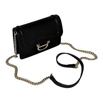 Nine West Women's Handbag Very S Dark Brown Logo Crossbody Belt Black A439269