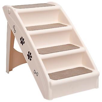 vidaXL Dog Stairs Folding Cream 62x40x49.5 cm