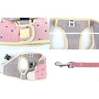 L correa de perro rosa mascota pecho cuadrado espalda correa de chaleco de peluche x5075