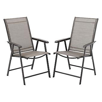 Set of 2 Brown Garden Folding Chairs