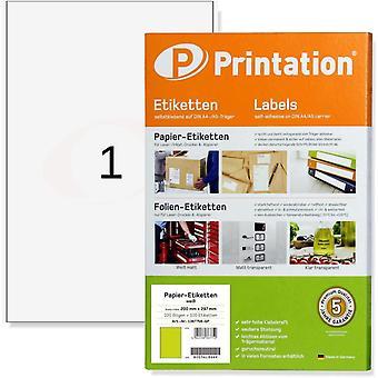 Etiketten 100 Stück 200 x 297 mm (DIN A4) selbstklebend weiß bedruckbar - 100 A4 Bogen à 1x1 200x297