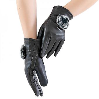 Mimigo Black Genuine Sheepskin Leather Gloves For Women, Winter Warm Cashmere Lined Driving Motorcycle Gloves With Real Rabbit Pompom