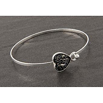 Midnight Sparkle Silver Plated Heart Hearts Bangle