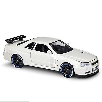 Toy cars 1:24 r34 gt r alloy car model handicraft decoration collection toy tool christmas gift die casting white
