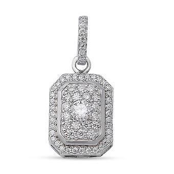 Weiße Moissanite Hochzeit Cluster Anhänger für Frauen Sterling Silber 0,6 ct