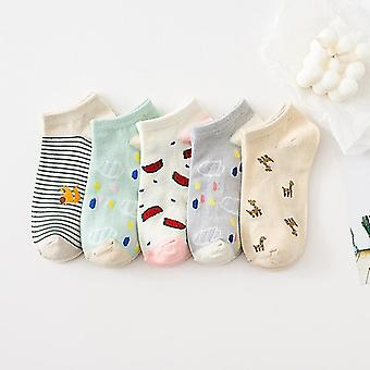5 Pairs set of cotton summer spring socks, themed(Style 6)