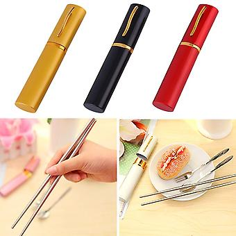 Camping Travel Outdoor Portable Stainless Steel Fork Spoon Chopsticks Set