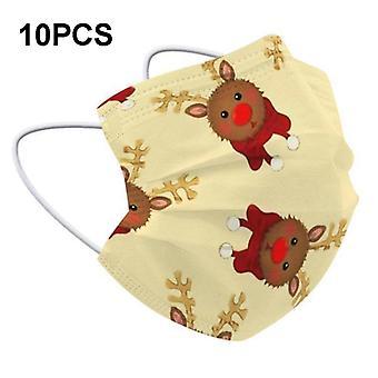 Mimigo 10pcs Noël Protection Jetable Masque Facial Pour Enfant 3 couches Respirant Confortable Filtre Sécurité Anti Poussière Masques Faciaux