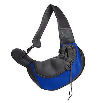 Pet Travel Portable Respirant Mesh Diagonal Shoulder Bag (petit bleu royal)
