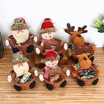 Joyeux Noël Candy Panier de rangement Décoration Santa Snowman Elk Panier de rangement