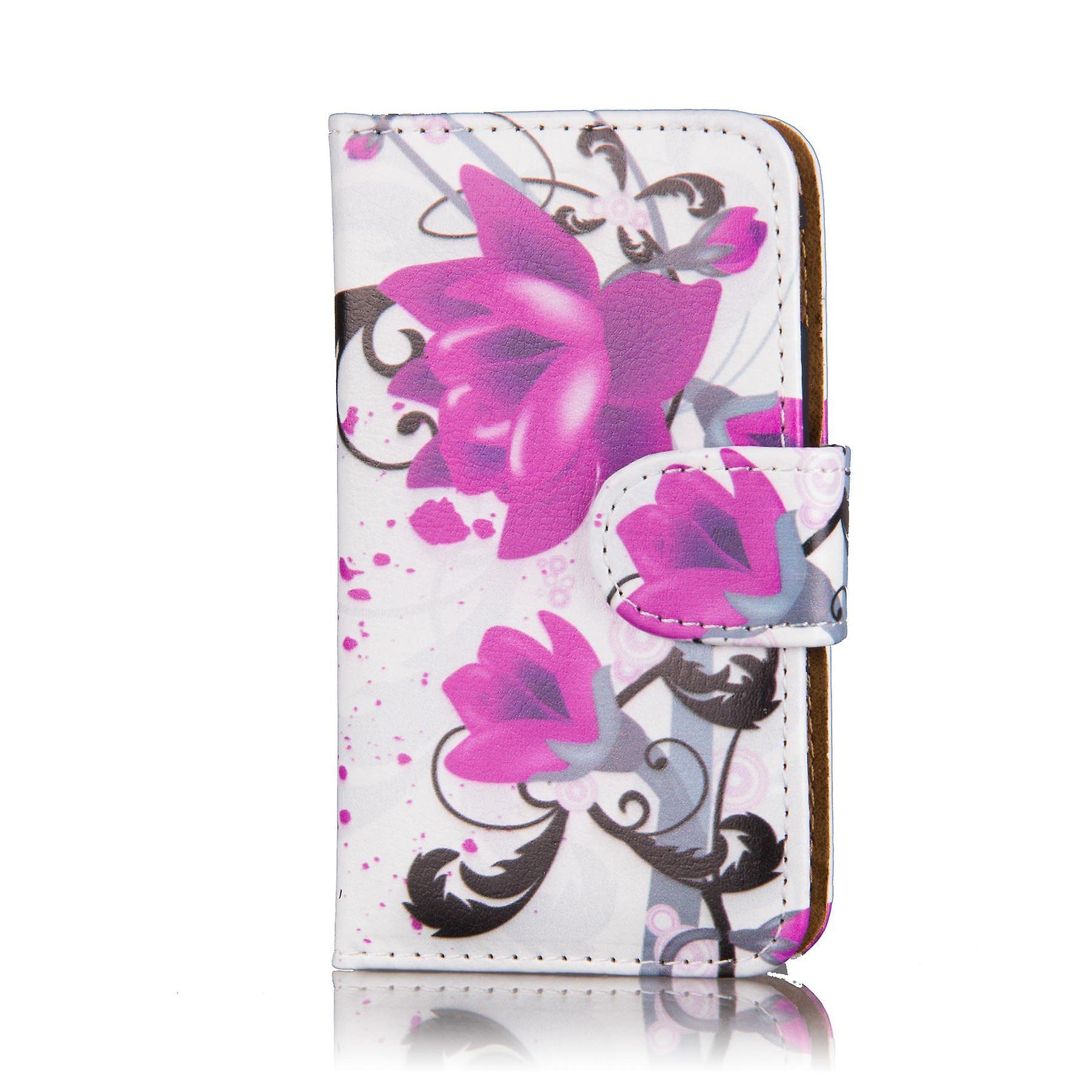 Design book wallet case for Alcatel Pixi 3 (4.5 inch) - Purple Rose