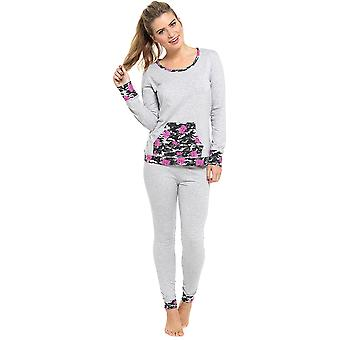 Ladies Tom Franks Floral Camo Print Pyjama Set Sleepwear Grey-Camo Trim 20-22