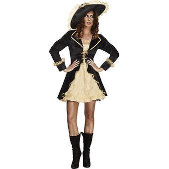 Gorączka kolekcja płaszcza i szpady Panie kostium petticoat czarny strój i kapelusz