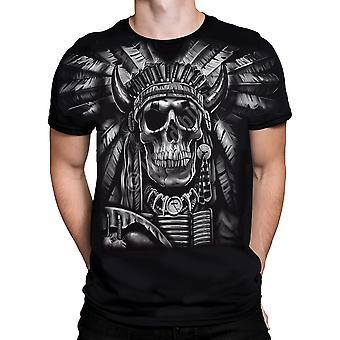 Vloeibare blauw-Indische schedel-korte mouw t-shirt Plus maten