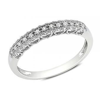 Affici zilver Semi Eternity Ring 18ct wit vergulde hart Gallery ~ Diamond CZ Gems
