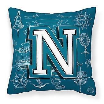 Bokstaven N havet kruseduller første alfabetet lerret stoff Dekorative Pillow