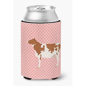 Carolines Treasures  BB7827CC Ayrshire Cow Pink Check Can or Bottle Hugger