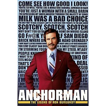Anchorman Ron Burgundy - Quotes Poster Poster Print