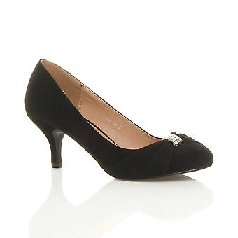 Ajvani womens mid heel ruched diamante wedding prom evening smart court shoes
