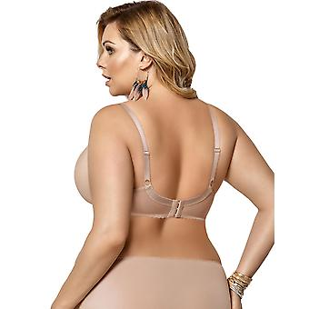 Gorsenia K378 naisten Victoria Beige kirjailtu ei-pehmustettu Underwired tuen kattavuus koko kupin rintaliivit