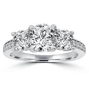 2ct drei Stein Runde Diamant Verlobungsring 14K White Gold