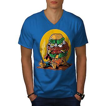 Funy Hamburger Men Royal BlueV-Neck T-shirt   Wellcoda