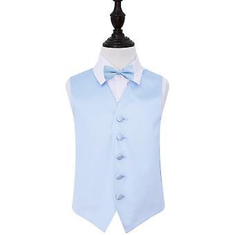 Baby Blue Plain Satin Hochzeit Weste & Fliege Set für jungen