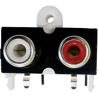 BKL Electronic 72382 RCA connettore presa, orizzontale Monte numero di pin: 2 oro, rosso, bianco 1/PC