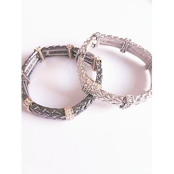 La mode Crystal Diamonte Bracelet - Charcoal & or