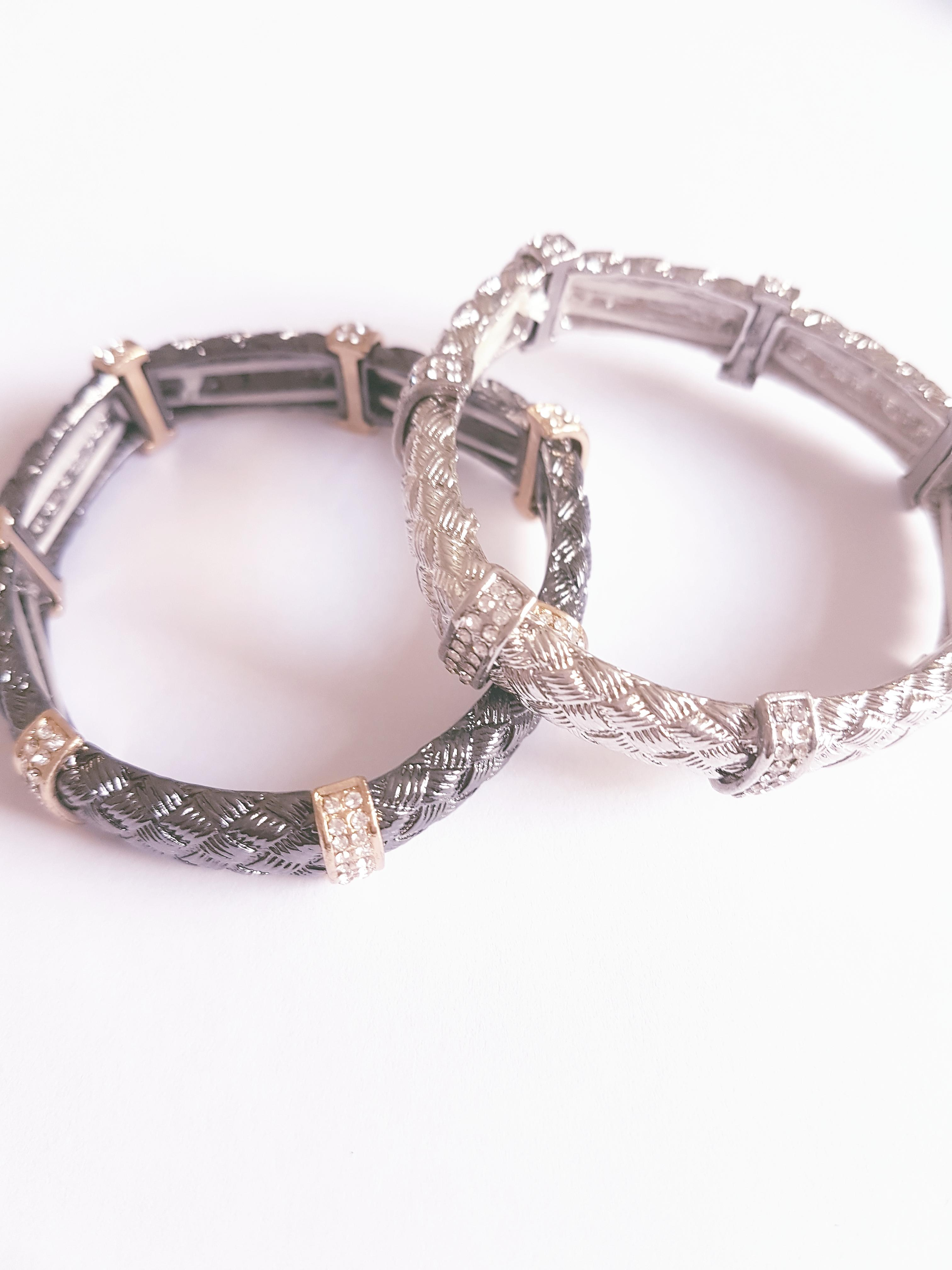 Fashionable Crystal Diamonte Bracelet - Silver
