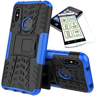 עבור שיאומי MI A2 לייט/Redmi 6 Pro היברידית נרתיק 2Piece כחול + מקרה זכוכית מכסה כיסוי כיסוי לכסות