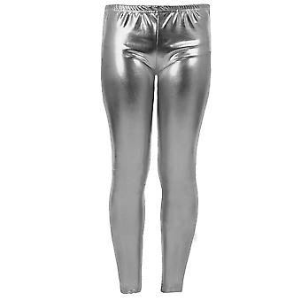 Wet Look Footless Parti Disco Pantalons Jambières de Metallic Shiny enfants des filles Kid