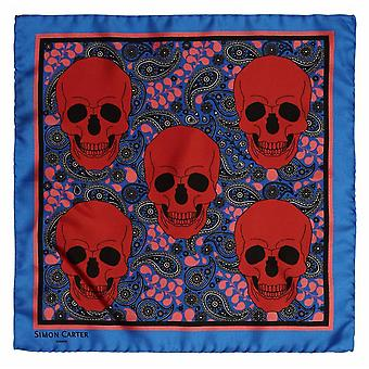 Simon Carter Printed Skulls Pocket Square - Blue