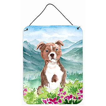 Mountian Flowers Red Staffordshire Bull Terrier Wall or Door Hanging Prints
