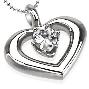 Round Heart with Prong Set Heart Pendant, Stainless Steel Jewellery with Chain
