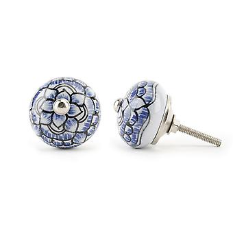 CGB Giftware Blue And White Flower Design Drawer Handle