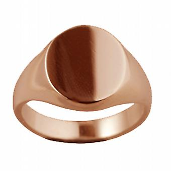 9ct Rose Gold 16x14mm solid plain oval Signet Ring Size W