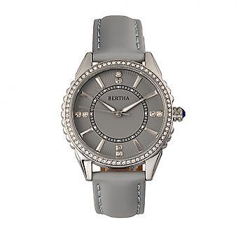 Bertha Clara lederen-Band horloge - grijs