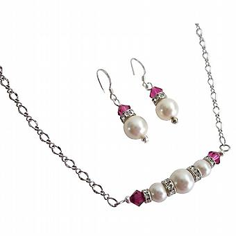 Gaver til veninder elfenben perler Fuchsia krystaller Valentine smykker