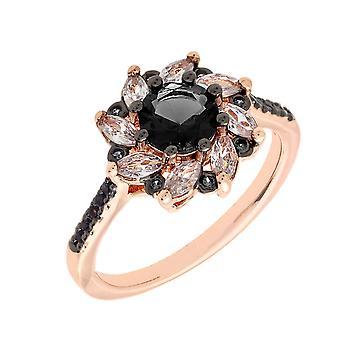 Bertha Juliet Collection Women's 18k RG Plated Black Flower Fashion Ring Size 8