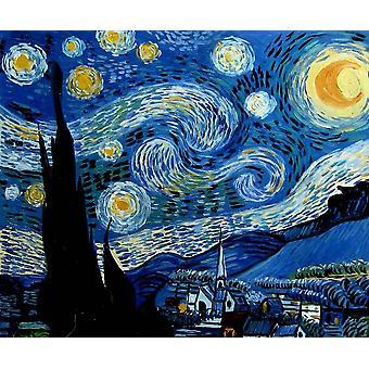 Etter Vincent Van Gogh Starry Night, 50x60 cm