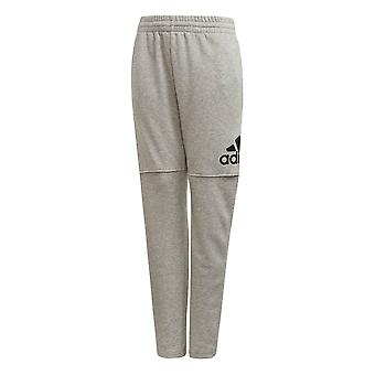 Adidas Logo Boys Kids Junior Fleece trainingspak Pant grijs/zwart